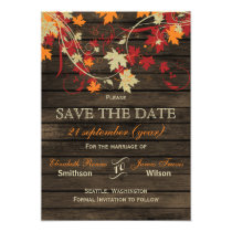 Barn Wood Rustic Fall Leaves Wedding save the date Card