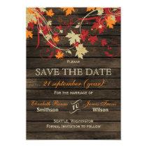 Barn Wood Rustic Fall Leaves Wedding save the date Card
