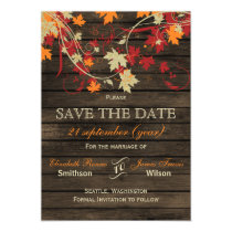 Barn Wood Rustic Fall Leaves Wedding save the date Magnetic Card