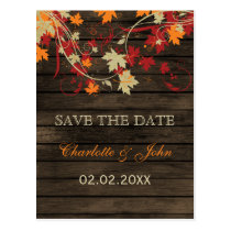 Barn Wood Rustic Fall Leaves Wedding save the date Postcard