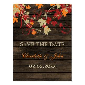 Barn Wood Rustic Fall Leaves Wedding save the date Postcard