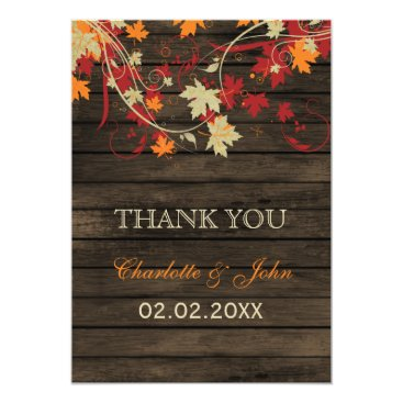 Barn Wood Rustic Fall Leaves Wedding Thank You Card