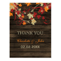 Barn Wood Rustic Fall Leaves Wedding Thank You Postcard