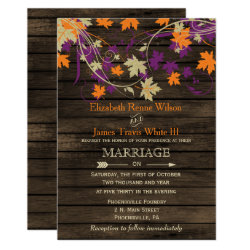 Barn wood, Rustic Fall Plum leaves wedding Invitation
