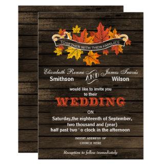 Barn wood Rustic Fall wedding invitations