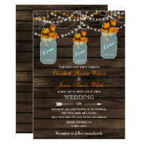 Barn wood Rustic mason jar Fall wedding invitation