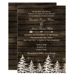 Barn wood Rustic Pine trees Winter Wedding Invitation
