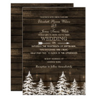 Barn wood Rustic Pine trees winter wedding Invitation