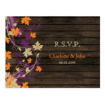 Barn wood Rustic plum fall leaves wedding RSVP Postcard