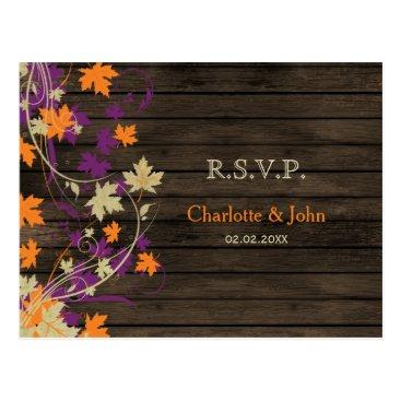 Barn wood Rustic plum fall leaves wedding RSVP Postcard