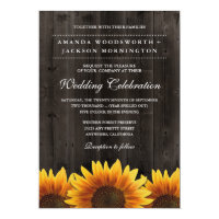Barn Wood + Rustic Sunflower Wedding Invitations (<em>$1.80</em>)