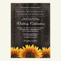 Barn Wood   Rustic Sunflower Wedding Invitations