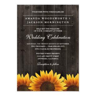 d63b25490b21 Barn Wood + Rustic Sunflower Wedding Invitations