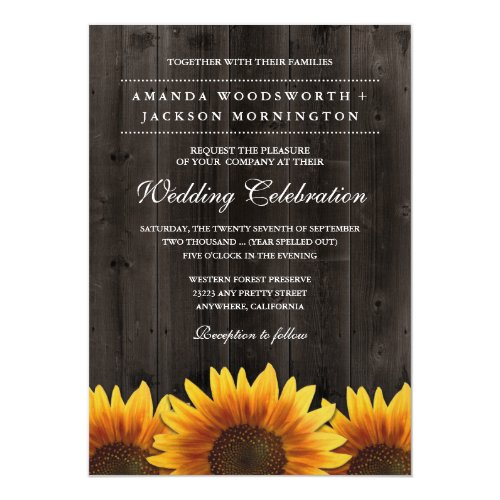 Barn Wood + Rustic Sunflower Wedding Invitations
