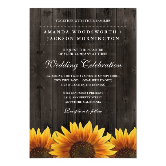 Barn Wood + Rustic Sunflower Wedding Invitations | Zazzle.com