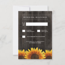 Barn Wood + Rustic Sunflower Wedding RSVP Cards