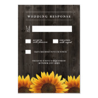 Barn Wood   Rustic Sunflower Wedding RSVP Cards
