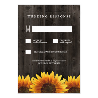 Barn Wood   Rustic Sunflower Wedding RSVP Cards
