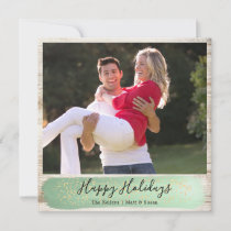 Barn Wood Single Photo, Square, Green and Gold Holiday Card
