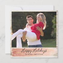 Barn Wood Single Photo, Square, Rose Gold Holiday Card