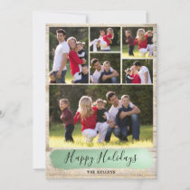 Barn Wood Six Photo Holiday Card, Green and Gold