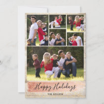 Barn Wood Six Photo Holiday Card, Rose Gold