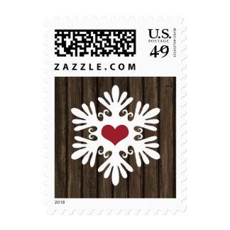 Barn Wood Snowflake Heart Holiday Postage