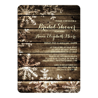 Barn Wood Snowflakes Rustic Winter Bridal Shower Card