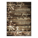 Barn Wood Snowflakes Rustic Winter Wedding Card