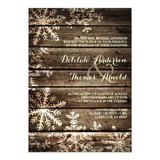 Barn Wood Snowflakes Rustic Winter Wedding Invitation
