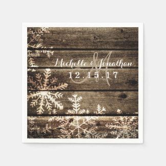 Barn Wood Snowflakes Rustic Winter Wedding Napkin