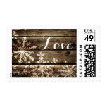 Barn Wood Snowflakes Rustic Winter Wedding Postage