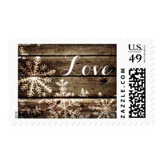 Barn Wood Snowflakes Rustic Winter Wedding Postage