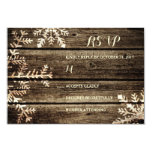 Barn Wood Snowflakes Rustic Winter Wedding RSVP Card