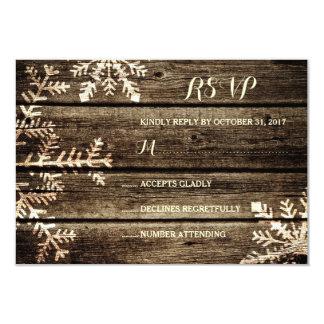 Barn Wood Snowflakes Rustic Winter Wedding RSVP Card