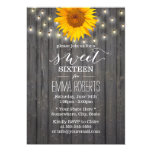 Barn Wood Sunflower & String Lights Sweet 16 Card at Zazzle