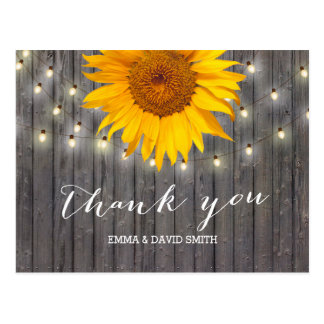 Barn Wood Sunflower & String Lights Thank You Postcard