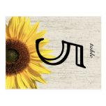 Barn Wood Sunflower Wedding Table Card Post Card
