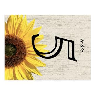 Barn Wood Sunflower Wedding Table Card Postcard