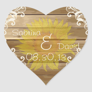 Barn Wood Sunflowers and Vintage Lace Heart Sticker