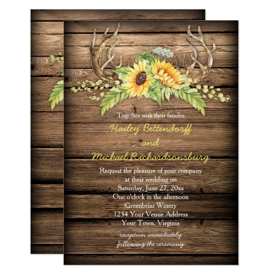 Barn Wood Sunflowers Antlers with RSVP Wedding Invitation