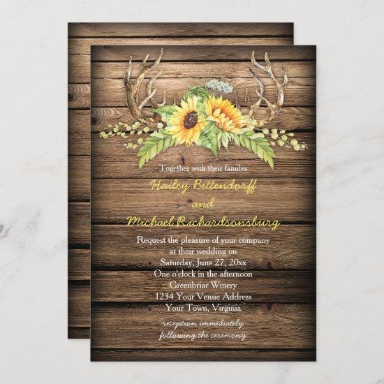 Barn Wood Sunflowers Antlers with RSVP Wedding Invitation