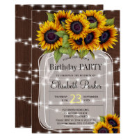 Barn wood sunflowers mason jar birthday party invitation