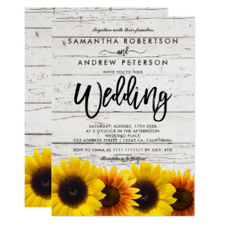 Barn wood sunflowers typography rustic wedding invitation