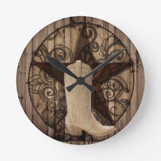 Barn Wood Texas Lone Star western country cowgirl Round Clock