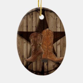 Barn Wood Texas Star western country cowboy boots Ceramic Ornament