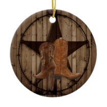 Barn Wood Texas Star western country cowboy boots Ceramic Ornament