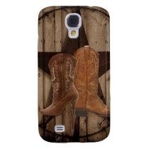 Barn Wood Texas Star western country cowboy boots Galaxy S4 Case