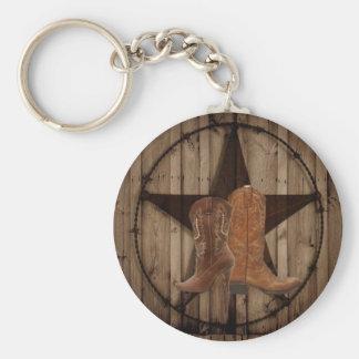 Barn Wood Texas Star western country cowboy boots Keychain