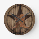 Barn Wood Texas Star western country cowboy boots Round Clock